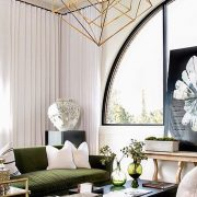 ModernMonday-GreenVelvetGoldChandelier